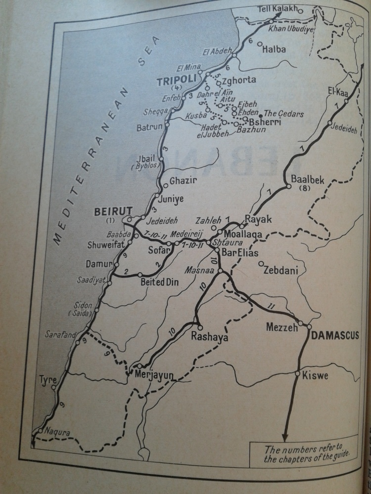 "Map of Lebanon ""Hachette World Guides: The Middle East, 1966"""