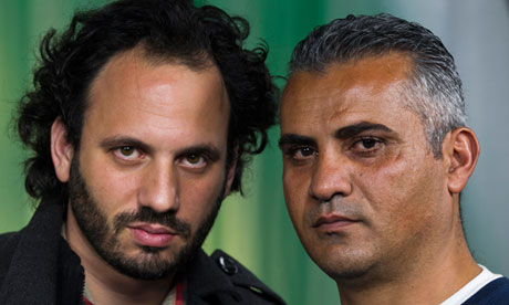 Emad Burnat, right, with his Israeli co-director Guy Davidi. Photograph: Damian Dovarganes/AP, retrieved from The Guardian