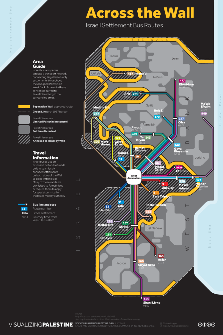 Across the Wall: Israeli Settlement Bus Routes. By Ahmad Barclay and Polypod, July 2012