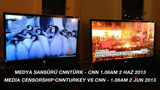 Right: CNN International covering the protests Left: CNN Turkey airing a three parts documentary on Penguins.  Same time.  http://www.democracynow.org/2013/6/3/a_turkish_spring_over_1_000