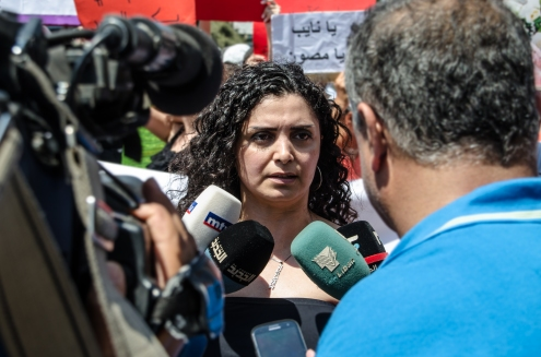 Bouchra Khoury (one of Roula's neighbors) speaking at the Protest Halba, Akkar.