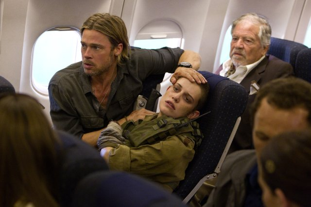 Brad Pitt (left) and Daniella Kertesz (right) in the Plane scene