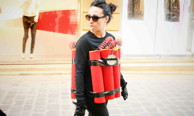 Rima Najdi, aka Madame Bomba, in costume in Beirut