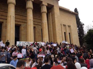 People have started gathering in front of the Museum. Taken by Rima Barakat