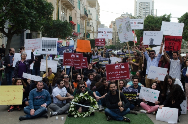Protesters against the proposed Highway in Mar Mikhael (Source: Hummus For Thought)