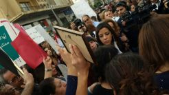 Roula Yaacoub's mother is currently speaking. Taken by Alina Razzouk