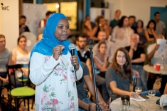 One of discussion participants sharing her experiences, AltCity, Sep 24, 2014, Beirut. Photo by Marta Bogdanska