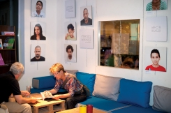 Cafe space at AltCity with part of Mixed Feelings exhibition, Beirut. Photo by Marta Bogdanska