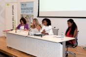 Opening panel discussion for Mixed Feelings exhibition at Issam Fares Institute at AUB, from left Rania Masri from Asfari Institute, Roula Hamati from Insan Association, Nisreen Kaj and Francesca Ankrah, October 8, 2014, Beirut. Photo by Marta Bogdanska
