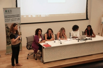 Welcoming words from Noor Balbaaki representing the Heinrich Boell Foundation Middle East Office. From left Rania Masri from Asfari Institute, Marta Bogdanska, Roula Hamati from Insan Association, Nisreen Kaj and Francesca Ankrah, October 8, 2014, Beirut. Photo by Mourad Ayyash from RightsCast