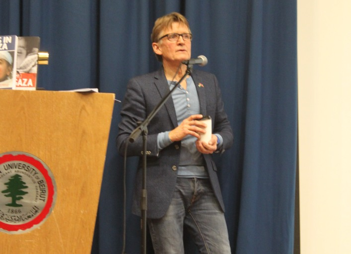 Dr. Mads Gilbert speaking at the American University of Beirut (AUB) on Thursday March 19th, 2015