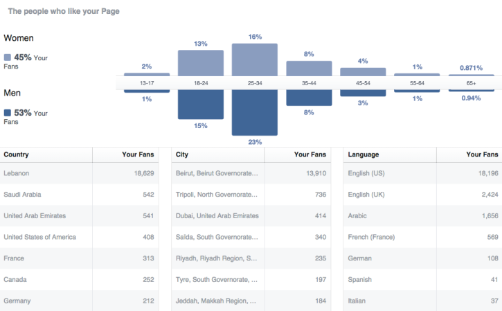 Recent statistics of the page. Note: 'Language' means the language users use Facebook in. Our page is in Arabic with many posts getting translated into English.
